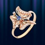 Кольцо из русского золота с цирконами