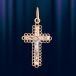 Крестик нательный золотой узорный