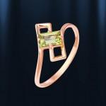 Кольцо золотое с хризолитом