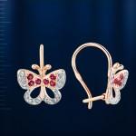 Серьги Бабочки. Бриллианты & Рубины