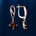 Серьги - подвески с раухтопазом. Русское золото