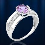 Серебряное кольцо. Алексит лавандовый & Фианиты