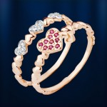Золотое двойное кольцо. Фианит