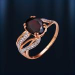 Золотое кольцо Гранат & Фианит