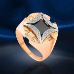 Перстень золотой. Черный фианит