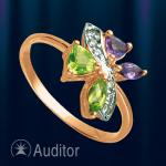 Кольцо из золота с хризолитом и аметистом