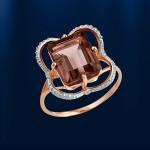 Золотое кольцо. Раухтопаз & Фианит