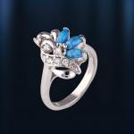 Кольцо с серебряное опал & циркон