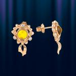 """Золотые серьги с янтарем """"Бантик"""""""