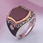 Перстень мужской серебряный. Агат