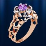 Золотое кольцо с бриллиантами и Александритом Корунд