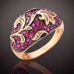 Кольцо с рубинами Калина красная.