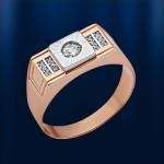 Золотой перстень мужской. Фианит