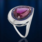 Кольцо серебряное. Наноаметист & nanoсапфир