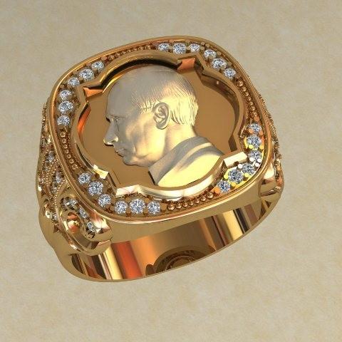 Перстень Печатка с Путиным, , фианитов, диаметром, печатку, бриллиантов, приблизительно